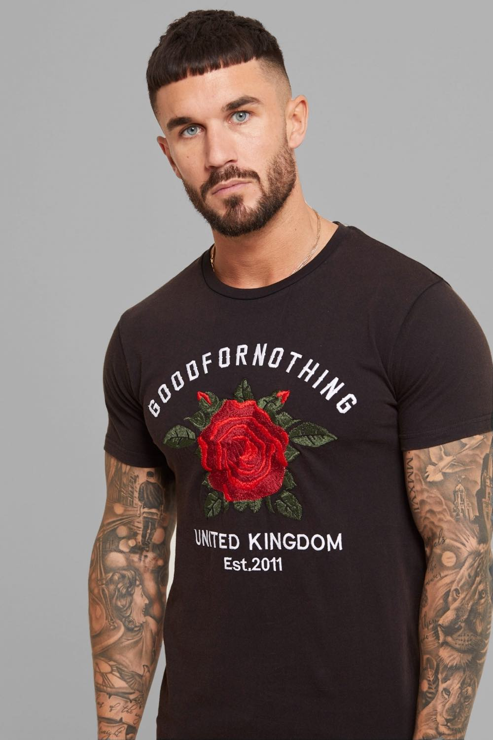 Good For Nothing Rose Washed T-Shirt - Black - 1