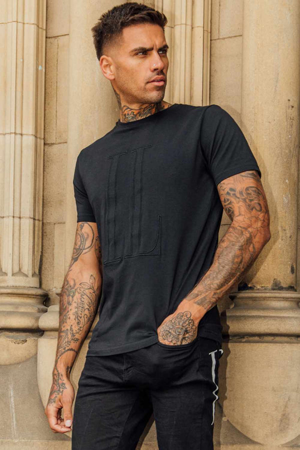 IL Sarto Large Tonal T-Shirt - Black