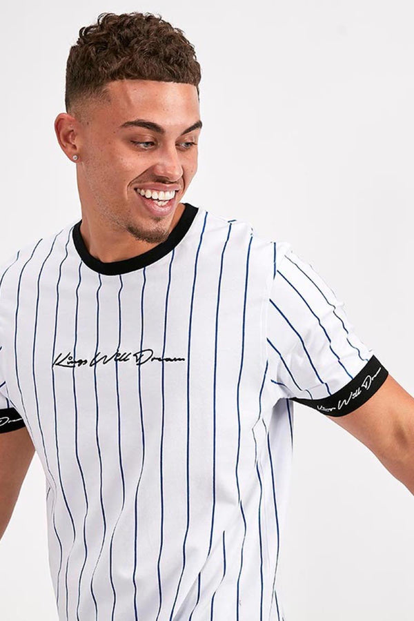 Kings Will Dream Clifton Pinstripe T-Shirt -  White/Cobalt/Black - 1
