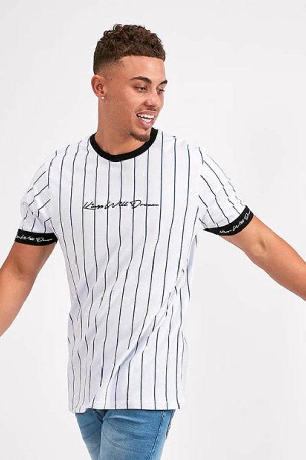 Kings Will Dream Clifton Pinstripe T-Shirt -  White/Cobalt/Black