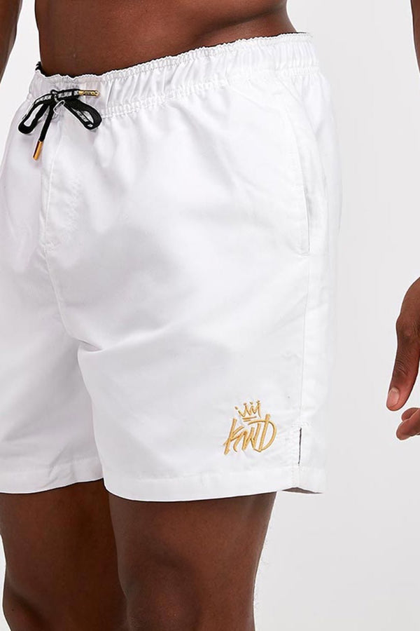 Kings Will Dream Stantling Lurex Logo Swim Shorts - White/Gold