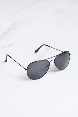 Men's Black Frame Black Lens Aviator Sunglasses