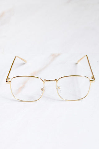 Men's Clear Lens Gold Frame Sunglasses