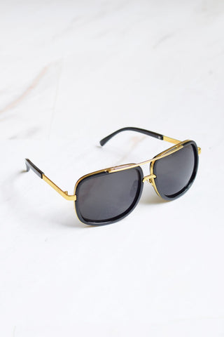 Men's Gold Bar Black Lens Sunglasses - 1