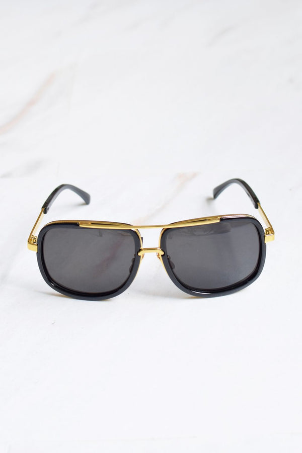 Men's Gold Bar Black Lens Sunglasses