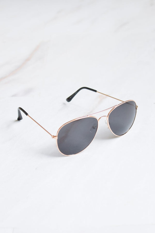 Men's Gold Frame Black Lens Aviator Sunglasses - 1