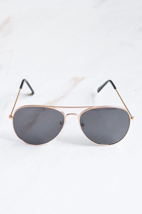 Men's Gold Frame Black Lens Aviator Sunglasses