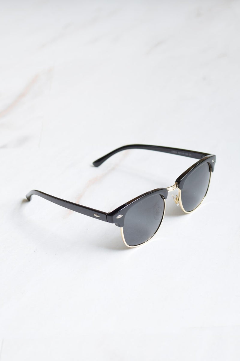 Men's Half Frame Retro Black Tint Sunglasses - 1