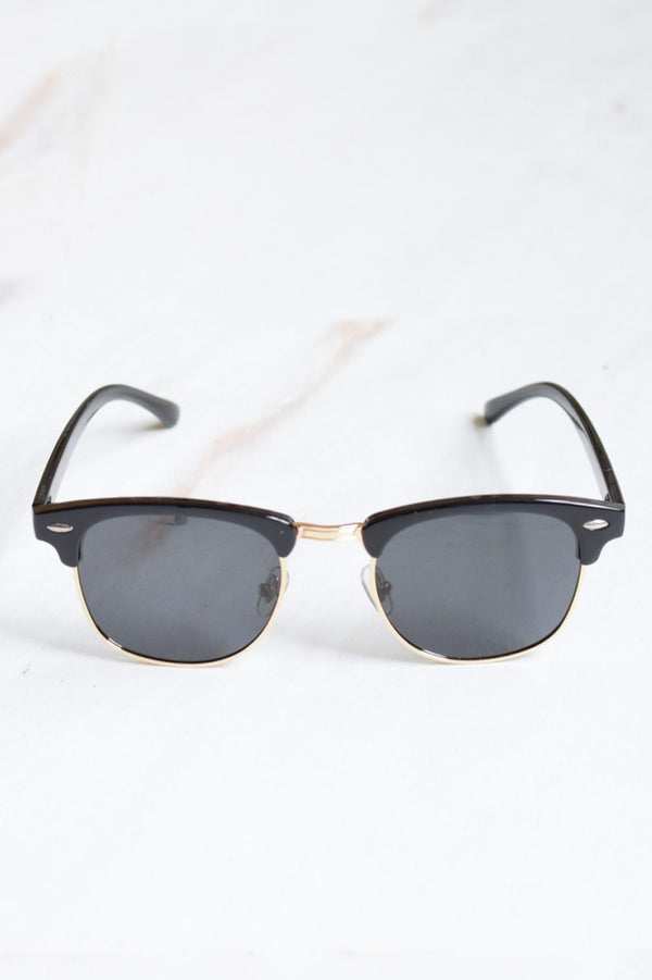 Men's Half Frame Retro Black Tint Sunglasses
