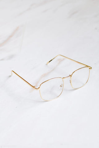 Miami Clear Lense Gold Frame Sunglasses - 1
