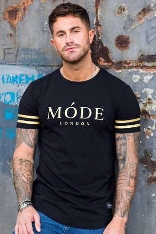 Mode London Mayfair Stripe T-Shirt - Black/Gold - 3