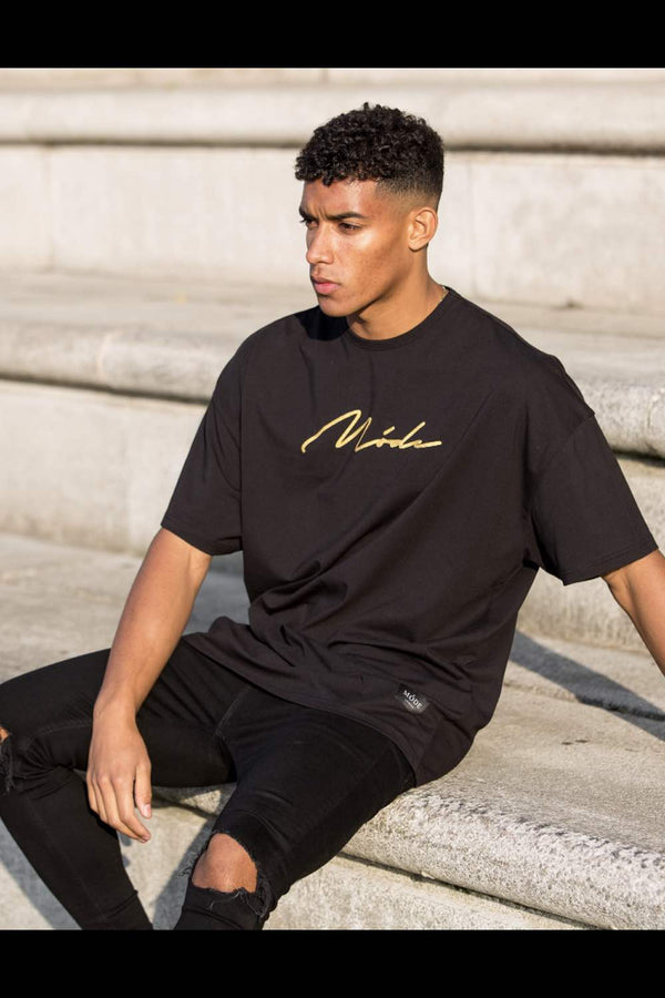 Mode London  Oversized Script T-Shirt - Black/Gold - 2