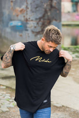 Mode London  Oversized Script T-Shirt - Black/Gold - 3