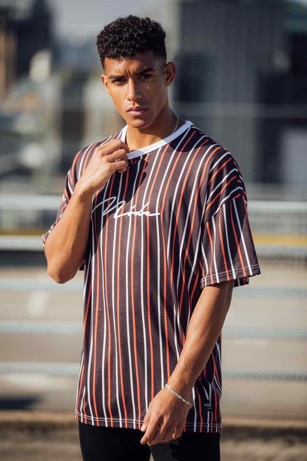 Mode London Valencia Oversized Stripe T-Shirt - Black/Red/White - 1