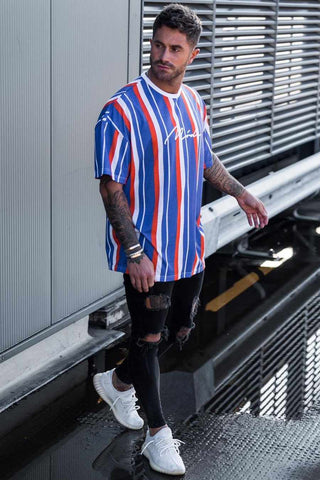 Mode London Valencia Oversized Stripe T-Shirt - Red/White/Blue - 1