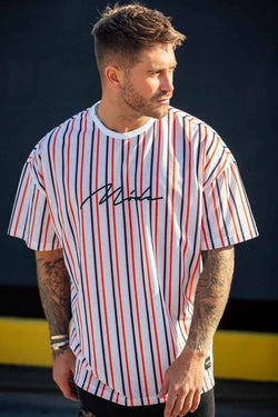 Mode London Valencia Oversized Stripe T-Shirt - White