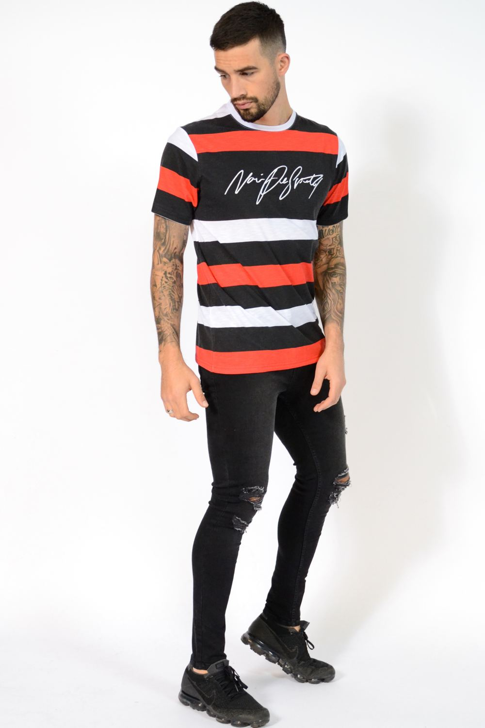 Noir De Sportif Dennis Stripe T-Shirt - Black/White/Red - 2