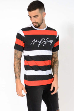 Noir De Sportif Dennis Stripe T-Shirt - Black/White/Red