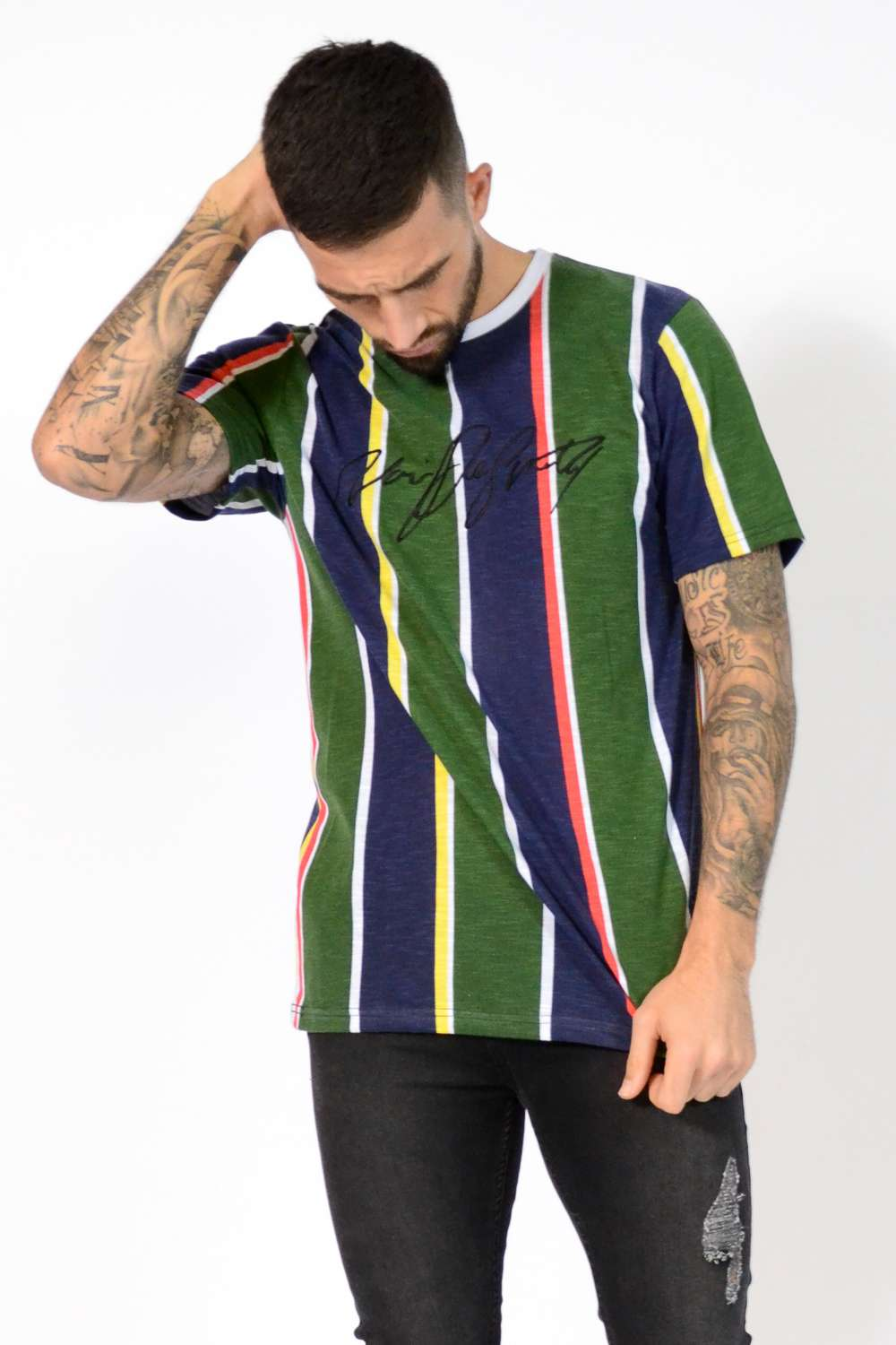 Noir De Sportif Terrace Striped T-Shirt - Navy/Green - 2