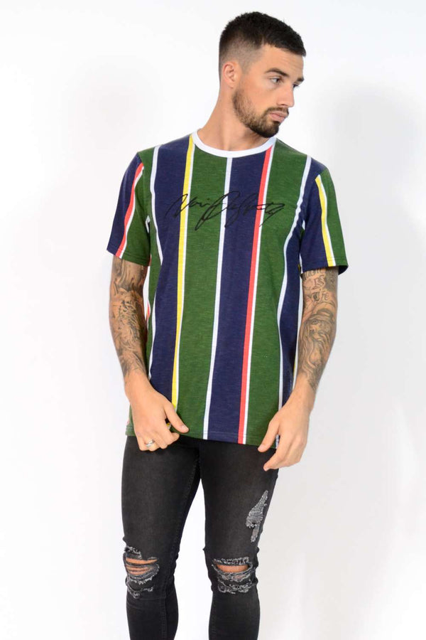 Noir De Sportif Terrace Striped T-Shirt - Navy/Green