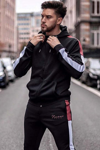 Nuevo Club Signature Poly Tracksuit Top - Black/Burgundy