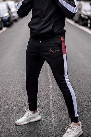 Nuevo Club Signature Poly Track Pants - Black/Burgundy