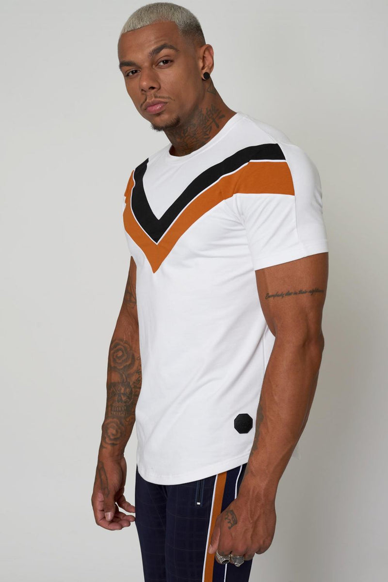 Project X Paris Double V Colour Block T-shirt - White