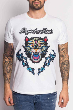 Project X Paris Embroidered Floral Panther T-Shirt - White