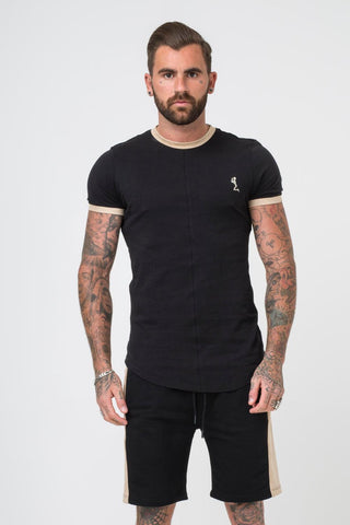 Religion Clothing Ringer Suede Trim Fitted T-shirt - Black - 1