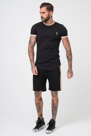 Religion Clothing Ringer Suede Trim Fitted T-shirt - Black