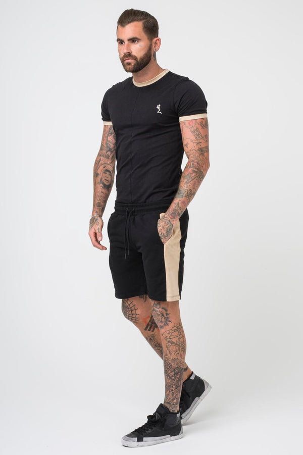 Religion Clothing Suede Trim Thunder Shorts - Black/Tan - 1
