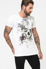 Religion Smokey Skull Graphic Tee - White