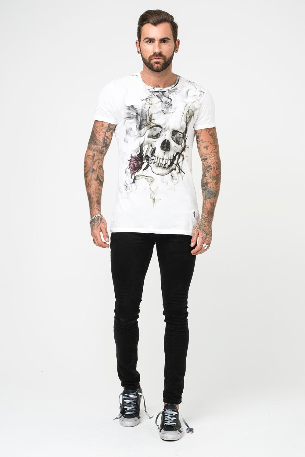 Religion Smokey Skull Graphic Tee - White - 1