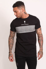 Rose London Plaid Chest T-Shirt - Black