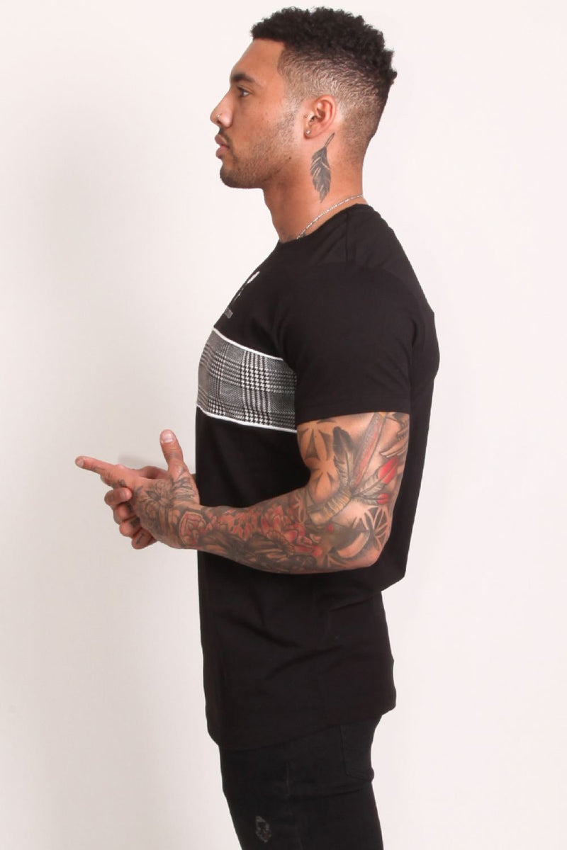 Rose London Plaid Chest T-Shirt - Black - 4