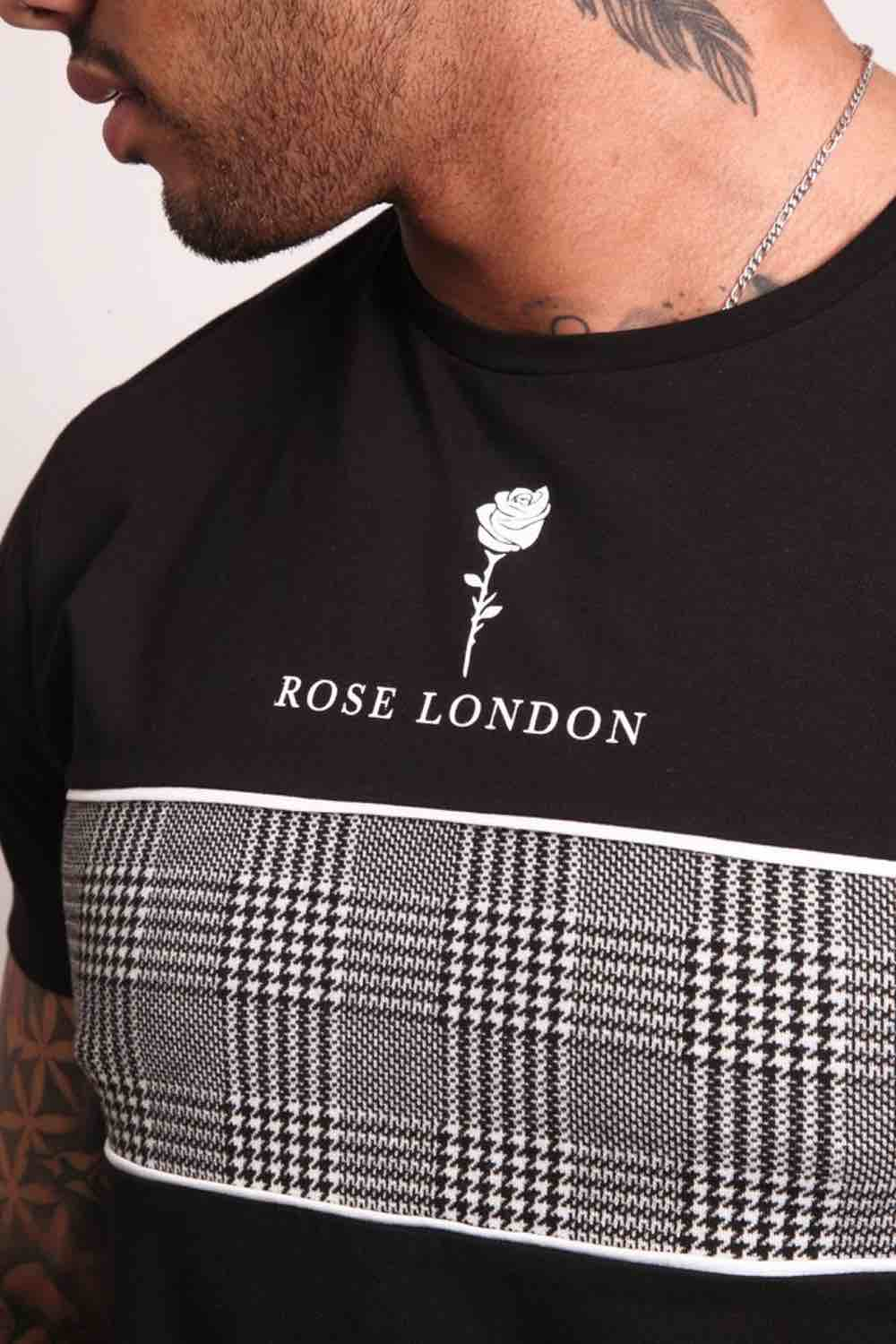 Rose London Plaid Chest T-Shirt - Black - 1