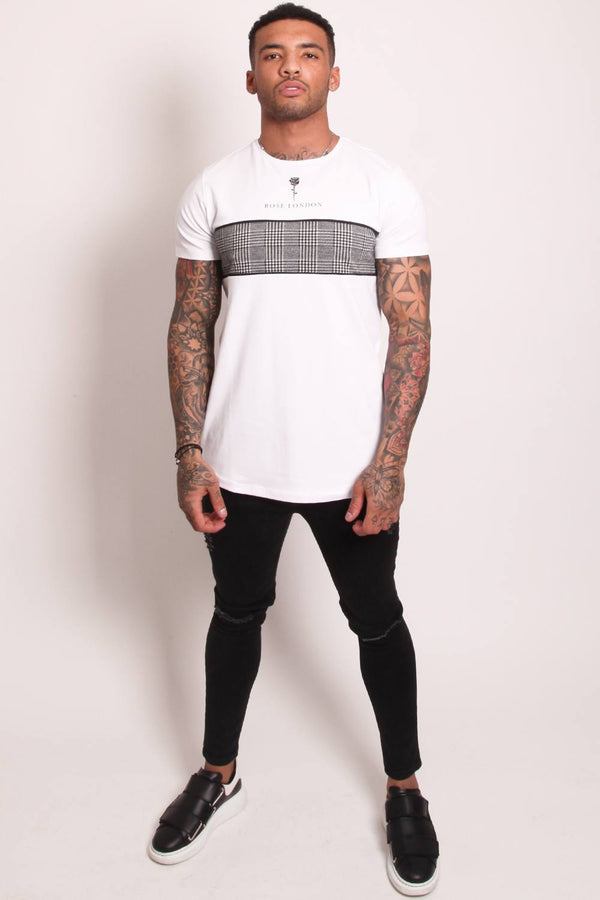 Rose London Plaid Chest T-Shirt - White - 3