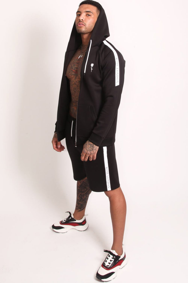 Rose London Tech Stripe Tricot Hoodie - Black - 1