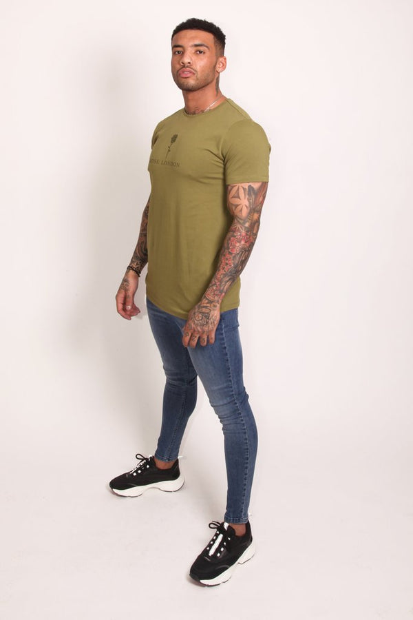 Rose London Tonal Plastisol T-Shirt - Khaki