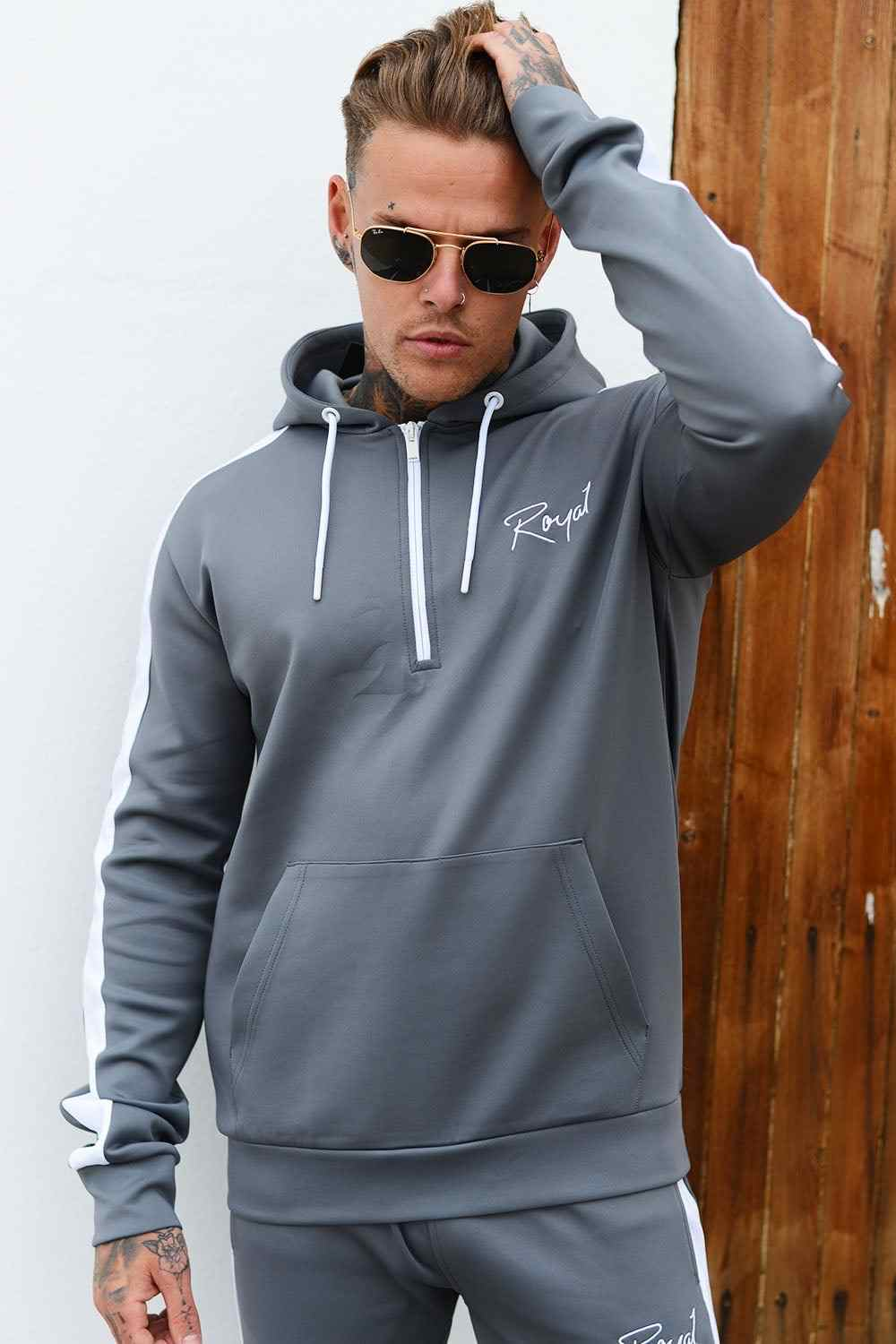 Roya1 Clothing Power Tracksuit Hoodie - Grey