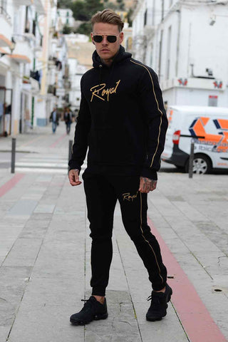 Roya1 Clothing Rome Tracksuit Hoodie - Black/Gold - 1