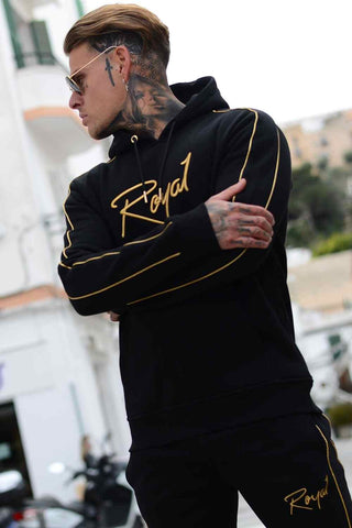Roya1 Clothing Rome Tracksuit Hoodie - Black/Gold