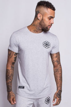 Scar Tissue Core Curved Hem T-Shirt - Grey Marl