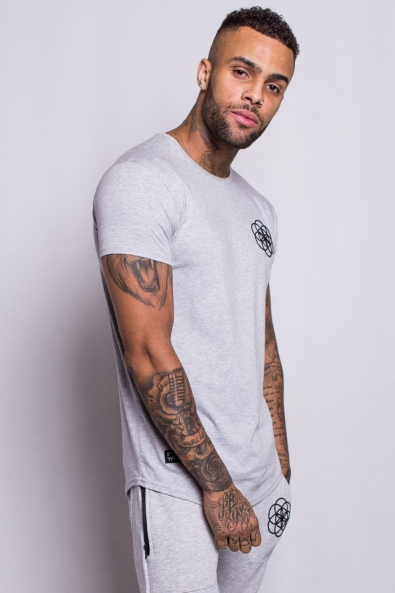 Scar Tissue Core Curved Hem T-Shirt - Grey Marl - 1