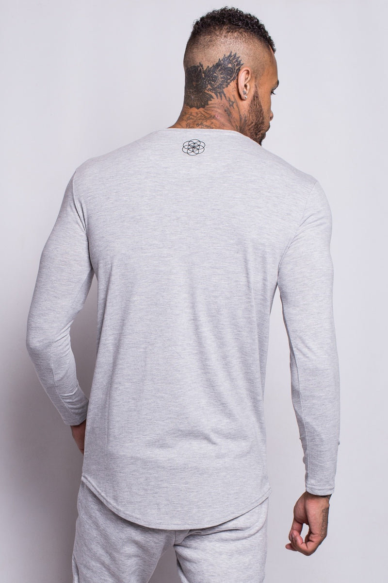 Scar Tissue Long Sleeve Core Hem T-Shirt - Grey - 3