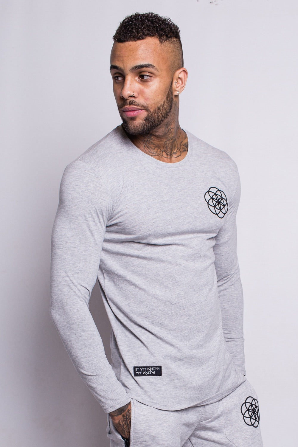 Scar Tissue Long Sleeve Core Hem T-Shirt - Grey - 2