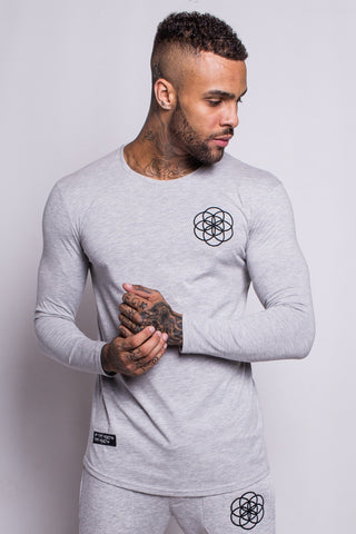 Scar Tissue Long Sleeve Core Hem T-Shirt - Grey - 1