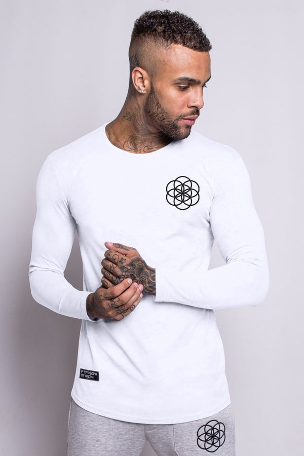 Scar Tissue Long Sleeve Core Hem T-Shirt - White