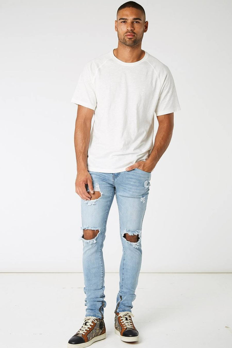 Section Clo Dalli Zipped Distressed Jeans - Light Blue - 1