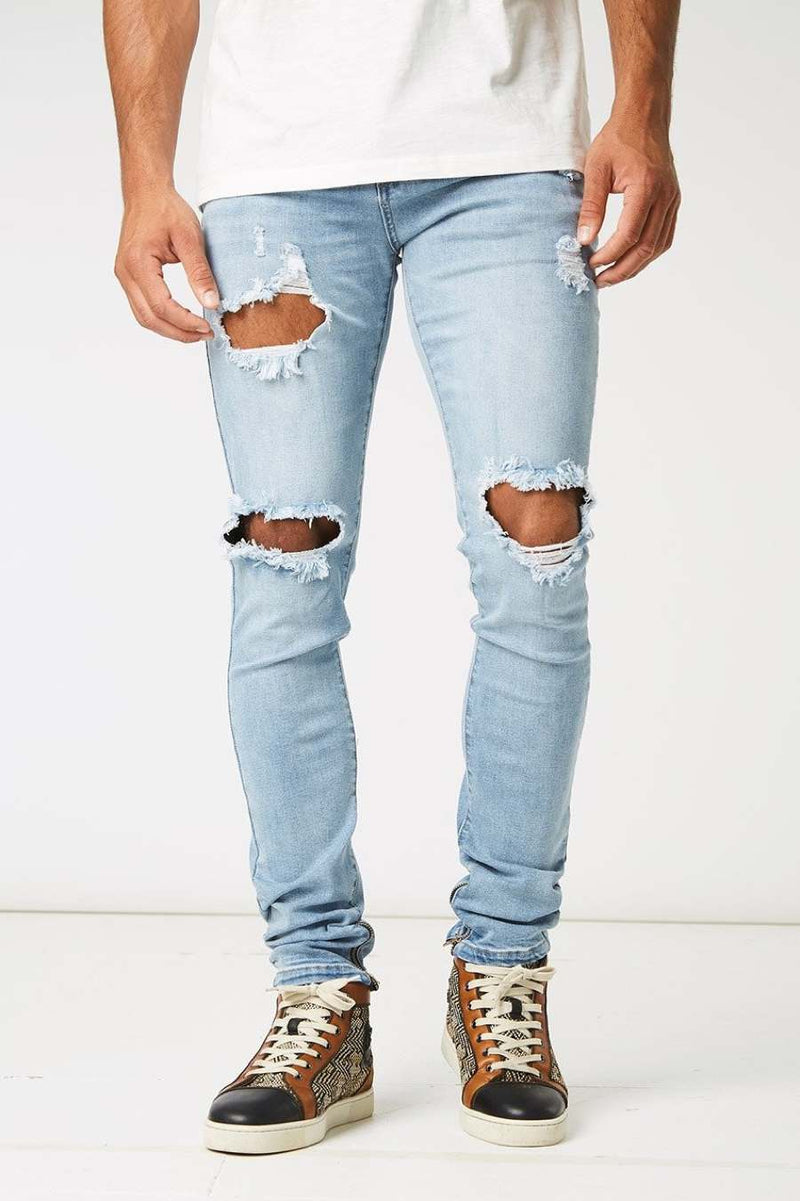 Section Clo Dalli Zipped Distressed Jeans - Light Blue - 2